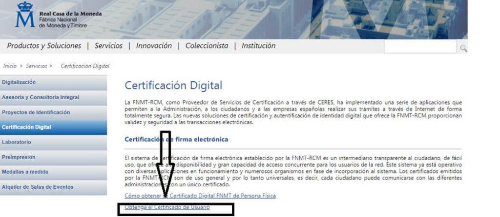 obtener certificado de usuario