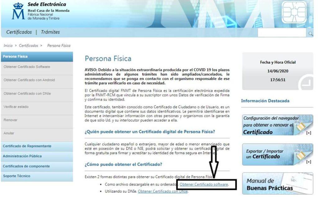 obtener certificado software