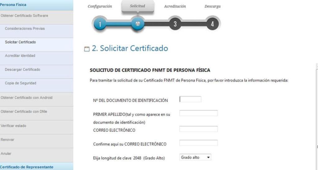 solicitud de certificado FNMT