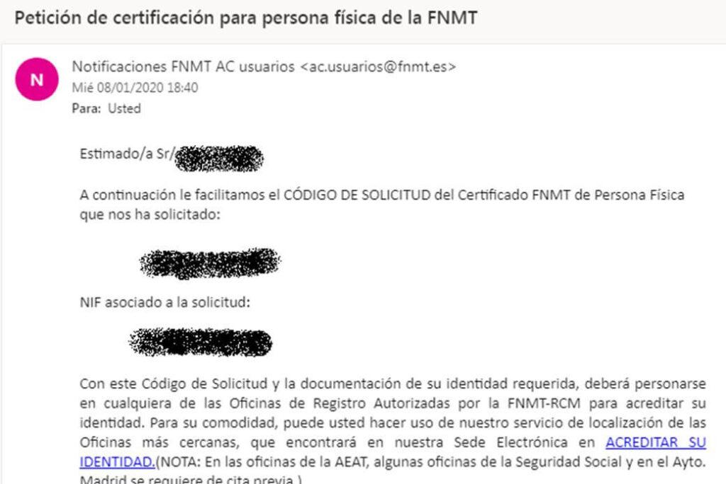 email certificación FNMT